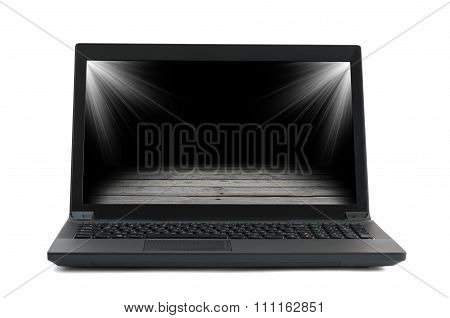 Black laptop with floor picture