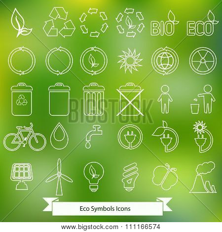 Set of white Ecology icons
