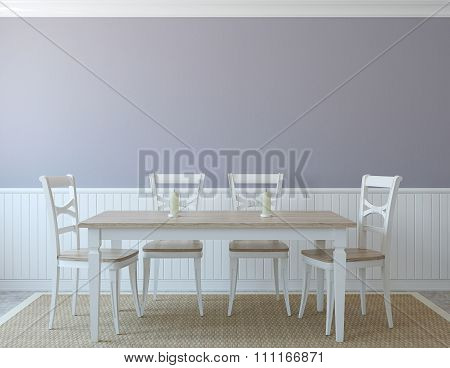 Dining-room interior in provance style. 3d render. poster