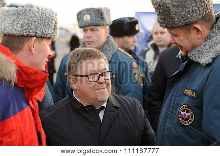 Orel, Russia - December 09, 2015: Emergency Control Ministry (mchs) Tactical Exercise. Alexandr Buda