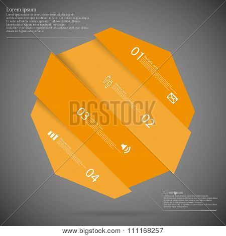 Infographic Template With Octagon Askew Divided To Five Four Orange Parts