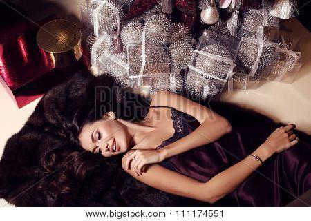 Beautiful Sensual Woman With Long Dark Hair Wears Elegant Dress