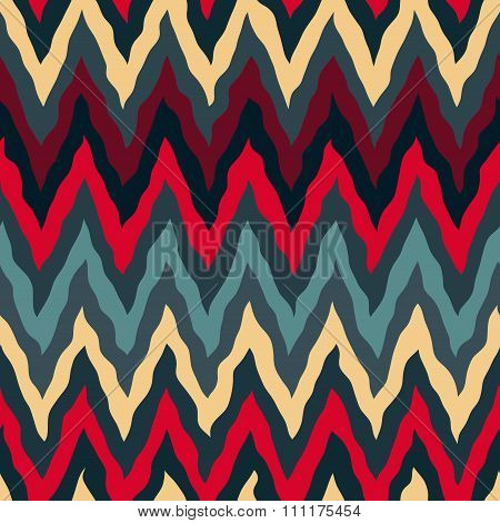 Vector Seamless Red Tan Navy Blue Colors  Rough Hand Painted Zigzag Lines Pattern