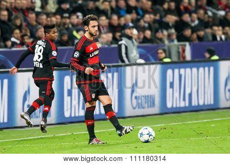 Leverkusen Germany- December 9 2015: Hakan Calhanoglu during the UEFA Champions League game between Bayer 04 Leverkusen vs Barcelona at BayArena stadium poster