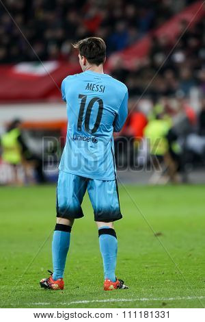 Lionel Messi During The Uefa Champions League Game Between Bayer 04 Leverkusen Vs Barcelona At Bayar