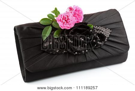 Beautiful Small Black Clutch With Fresh Pink Twig Of Flower Rose