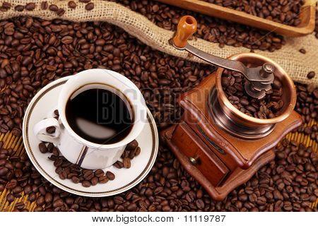 hot coffee in coffeehouse