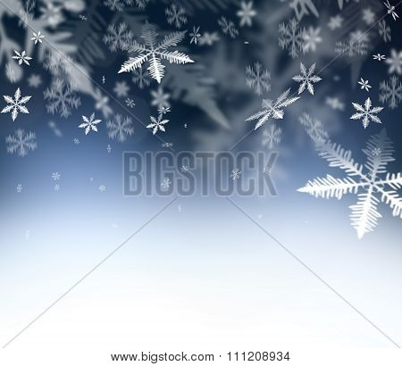 Christmas Abstract background.  Falling snowflakes on blue abstract sky. Free space for your Christm