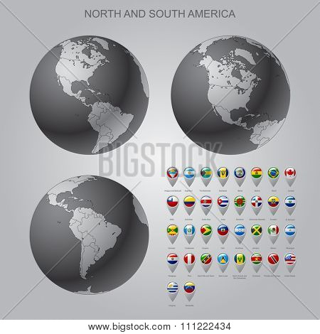 Globes with North and South America with borders of Sovereign states and map marker set with state flags of continents with captions in alphabet order. Contain the Clipping Path of all objects