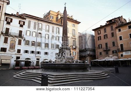 Fontana Del Pantheon At The Square Rotonda  In Rome, Italy