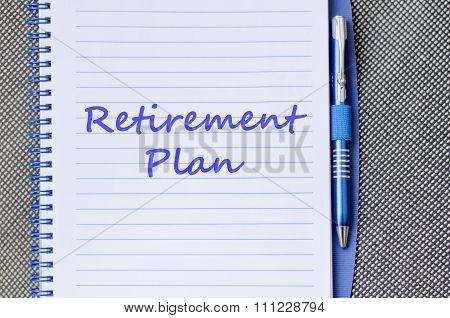 Retirement Plan Write On Notebook