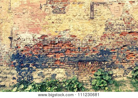 Old And Cracky Brick Wall. Grunge Background
