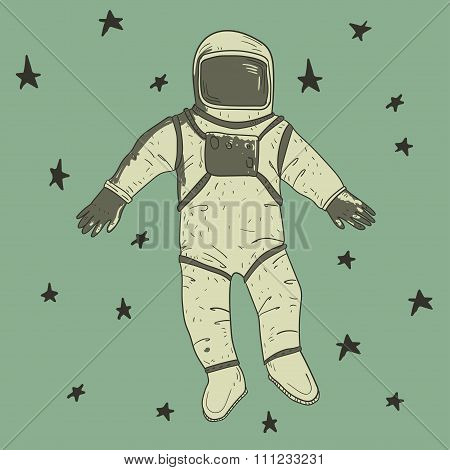 Astronaut in spacesuit in the spase. Ink drawn illustration. poster