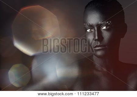 Black Magick Woman On A Black With A Colored Bokeh