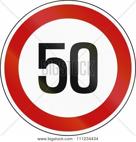 Road Sign In South Korea - 50 Kph Speed Limit Sign In Slovenia
