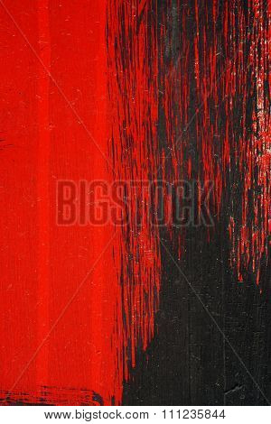 Brushstroke - Black And Red Acrylic Paint  On  Metal Surface