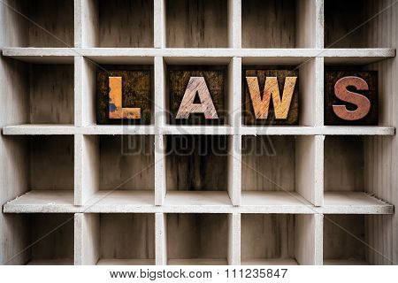 Law Concept Wooden Letterpress Type In Drawer