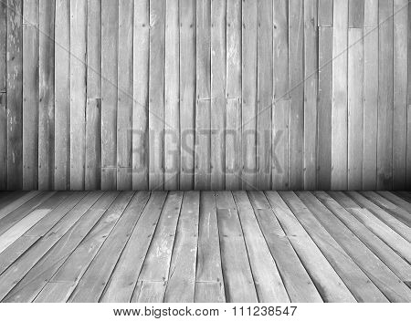 Black And White Interior Of Wooden House Texture Background Wall, Perspective.
