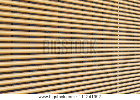 Perspective of Window wooden blind clos - up