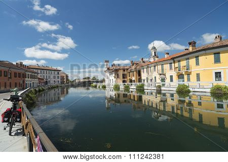 Gaggiano (Milan Lombardy Italy) historic town along the Naviglio Grande at summer poster