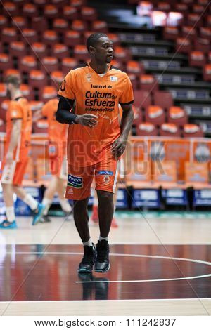 VALENCIA, SPAIN - DECEMBER 12th: Sato during Spanish League between Valencia Basket Club and Montakit Fuenlabrada at Fonteta Stadium on December 12, 2015 in Valencia, Spain