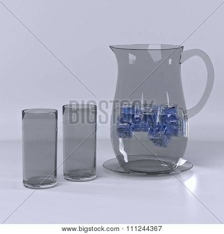 Pitcher with water.