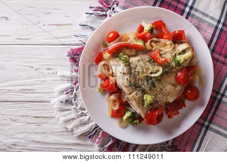Baked Flounder With Seasonal Vegetables. Horizontal Top View