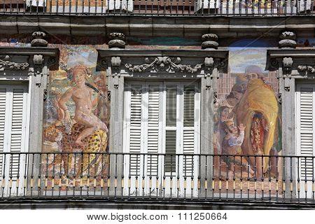 MADRID, SPAIN â?? September 17, 2015: Detail of Historic tenement house facade Casa de la Panaderia (Bakery House, 1619 now municipal and cultural building) Plaza Mayor.