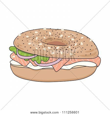 Fresh bagel sandwich with cream cheese and salmon. Poppy seeds and sesame on top.  Vector illustrat