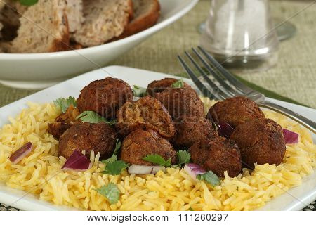 Baked Falafels And Rice