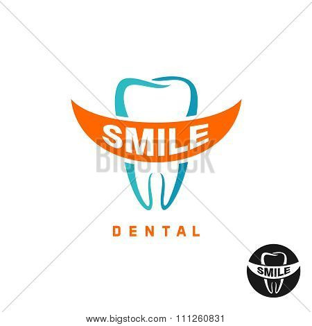 Molar Tooth Logo Template With Smile Shaped Text Place
