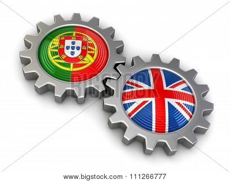 British and Portuguese flags on a gears. Image with clipping path