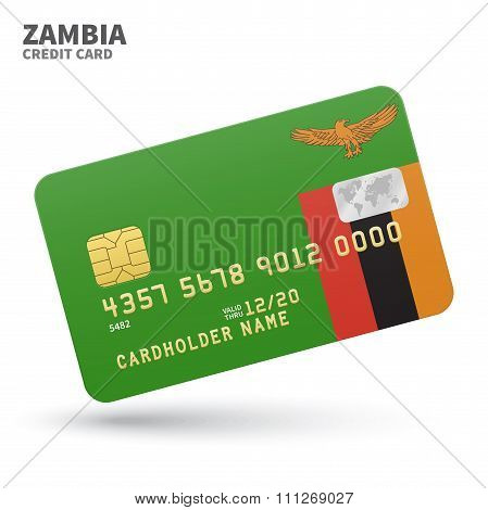Credit card with Zambia flag background for bank, presentations and business. Isolated on white