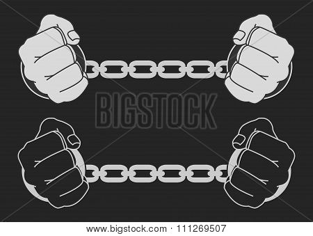 Hands in strained steel handcuffs. Dark vector illustration