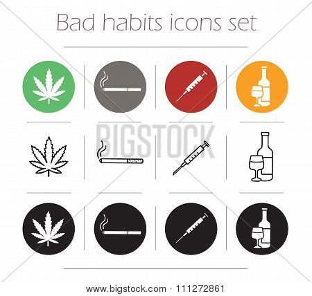 Bad habit icons set