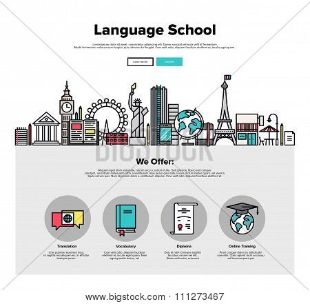 Language School Flat Line Web Graphics