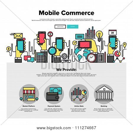 Mobile Commerce Flat Line Web Graphics