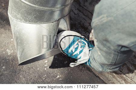 Teenager In Blue Sneakers Kicks Drainpipe, Aggression