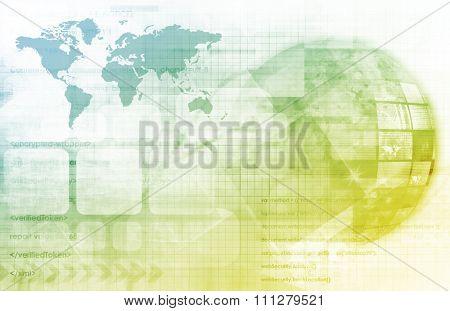 Telecommunications Technology Network Going Global as Art poster