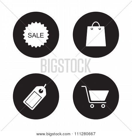Shopping icons set. Black