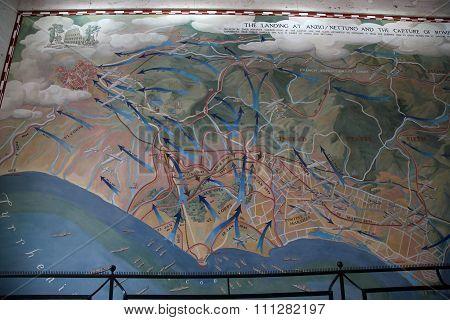 Nettuno - April 06: Details Of Strategic War Map Of The American Military Cemetery Of Nettuno In Ita