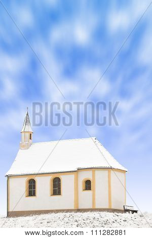 Tiny Winter Church Or Single Snowbound Small Chapel
