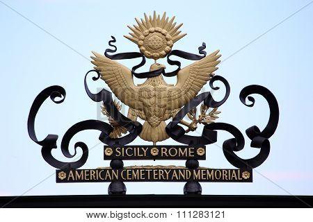 Nettuno - April 06: American Symbol On Main Entrance Of The American Military Cemetery Of Nettuno In
