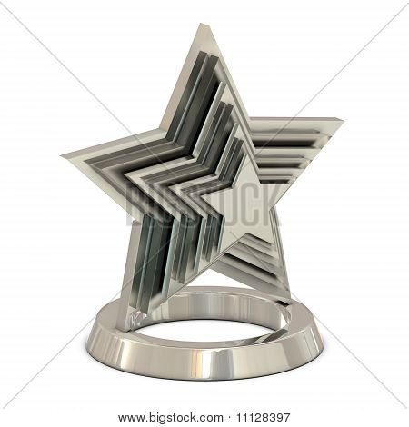 Star trophy silver - glass