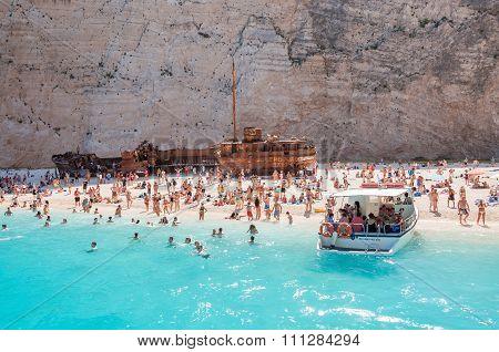 Crowded Navagio Beach On Zakynthos Island