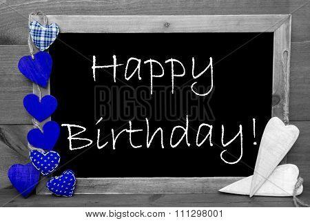 Black And White Blackbord, Blue Hearts, Happy Birthday