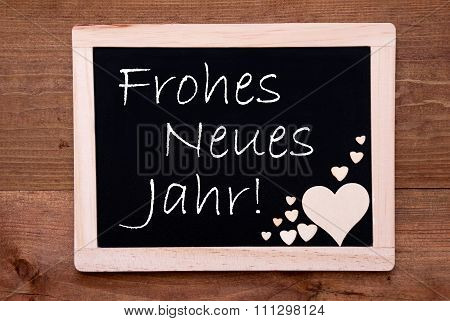 Blackboard With Wooden Hearts, Text Neues Jahr Means New Year