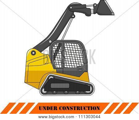 Skid steer loader. Heavy construction machine. Vector illustration