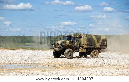 Military truck Ural 4320 at the test site
