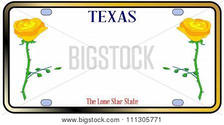 Texas Yellow Rose License Plate